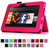 """Fintie Kindle Fire HD 7"""" (2012 Old Model) Slim Fit Leather Case with Auto Sleep/Wake Feature (will only fit Amazon Kindle Fire HD 7, Previous Generation - 2nd), Magenta"""