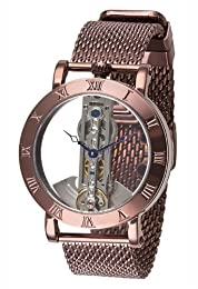 M. Johansson SirmiBrBr Men's Automatic Full Skeleton Brown Plated Stainless Steel Wrist Watch