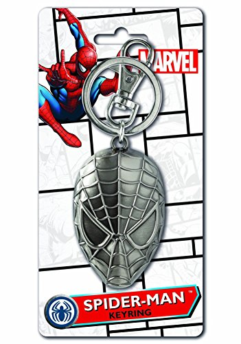 Marvel Comics Spider Man Head Pewter Key Ring (with Gift Box)