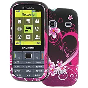 EMPIRE T-Mobile Samsung Gravity TXT Purple Hearts with Flowers Rubberized Design Hard Case Cover [EMPIRE Packaging]