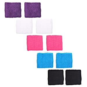 Buy Cosmos® 5 Pairs Different Color Soft Cotton Wristband for Basketball Football Volleyball Baseball Running Tennis or... by Cosmos