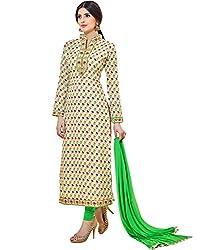 Shelina Women Off White Cotton Printed Salwar Suit