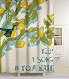 Lisa Weedn Song Bird Fabric Shower Curtain, Blue, 70-Inch X 72-Inch