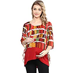 Red & Yellow assymetric crop maternity western top
