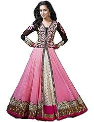Maxthon FashionWomen's Pink Georgette Embroidery Anarkali Unstitched Free Size XXL Salwar Suit Dress Material...