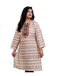 Viniyog Women Hand Woven Tussar Cotton-Silk Hand Block Printed Kurti - B00OZN18FY