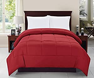Celine Linen® Luxury Ultra Plush Down Alternative Double-Filled Comforter %100 HypoAllergenic, Full/Queen , Burgundy
