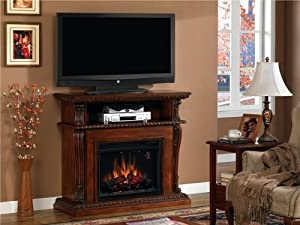 Corinth Electric Fireplace Entertainment Center Vintage Cherry Space Heaters