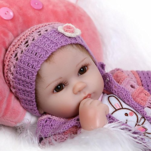 SanyDoll Reborn Baby Doll Soft Silicone vinyl 18 inch 45 cm Lovely Lifelike Cute Baby Boy Girl Toy Beautiful wool clothes doll
