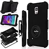 Note 4 Case, Galaxy Note 4 Case, Hinpia [Seaplays] Heavy Duty Shockproof Protection Hybrid Rugged Rubber Hard Case Built-in Rotating Kickstand Belt Swivel Clip Holster for Samsung Galaxy Note 4, Black