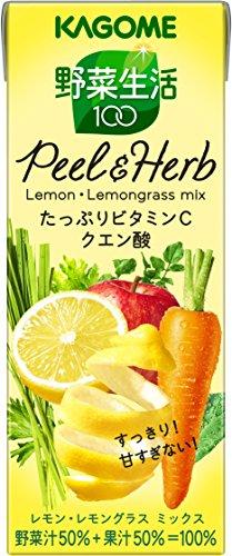 カゴメ 野菜生活100 Peel&Herb レモン・レモングラスミックス 200ml×24本