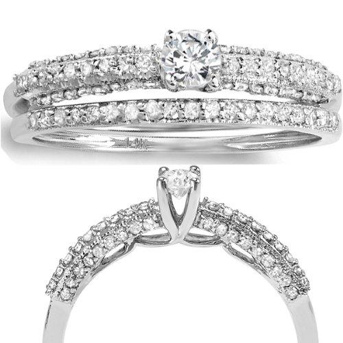0.66 Carat (ctw) 14k White Gold Round Diamond Ladies Bridal Ring Engagement Matching Wedding Band Set