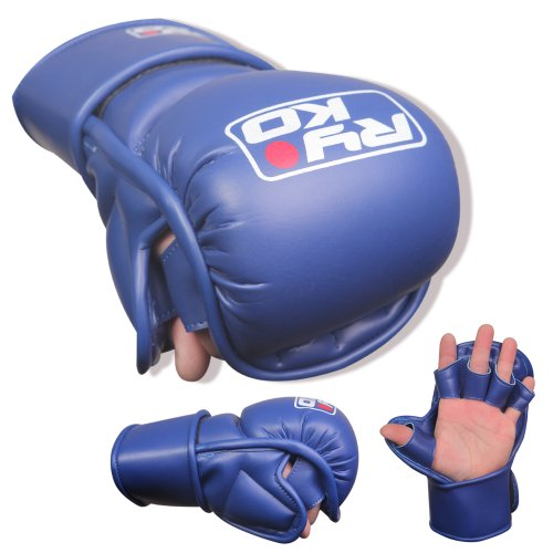 FG Blue karate mitts kick boxing punch bag mitts leather ufc mitts martial arts mma gloves