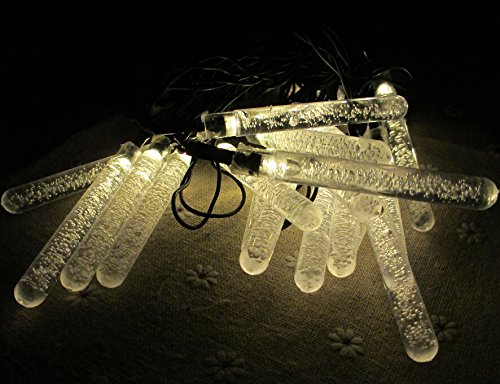E-Light Solar Powered 20 Icicle String Lights For Christmas, Outdoor, Patio, Garden, Holiday, Party, Wedding(Warm White)