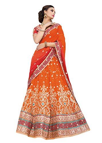 7 Colors Lifestyle Orange Coloured Net Embroidered Semi-Stitched Lehenga Choli