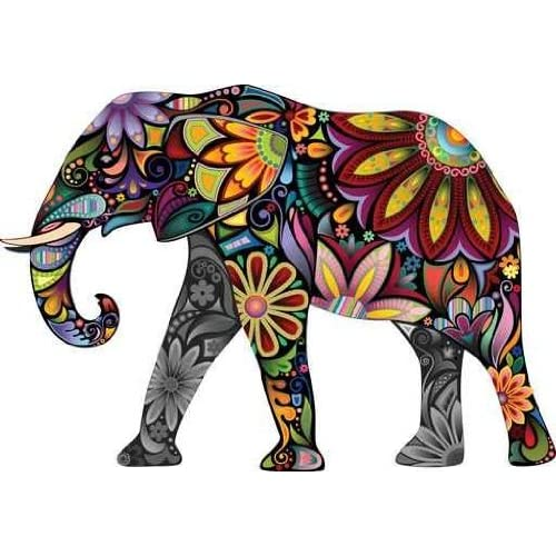 Wallmonkeys The Cheerful Elephant Peel and Stick Wall Decal 30-Inch Width by 21-Inch Height