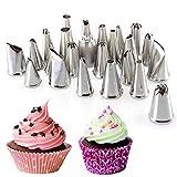 Forepin® 24 tlg Edelstahl Spritztüllen Garniertülle Tüllen Blumennägel Set Düsen für Kuchen Dekoration Torte Deko