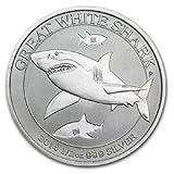 2014年 オーストラリア ・頬白鮫・ホオジロザメ・グレイト ホワイト シャーク ・1/2オンス 銀貨 15.5g シルバー コイン 純銀 高級アクリルカプセル・クリアーケース付き