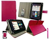 Emartbuy® Hot Pink Stylus + Universal Range ( 8 - 9 Inch ) Hot Pink Multi Angle Executive Folio Wallet Case Cover With Card Slots Suitable for Archos 80 Cobalt 8 Inch Tablet