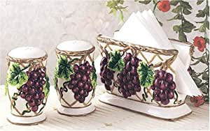 Grapes kitchen Napkin holder and matching Salt & Pepper shakers grape & vine themed home decor