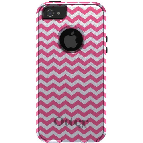 Great Price CUSTOM OtterBox Commuter Series Case for iPhone 5 5S - Chevron Stripes Zig Zag (White & Pink)