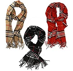 Weavers Villa Set of 3 Twill Pashmina Plaid Checks Stoles, Scarf, Dupattas