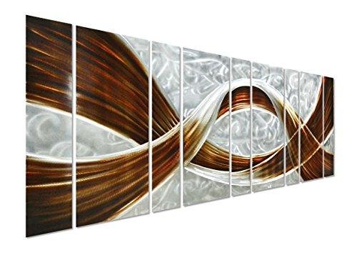Caramel Desire Large Modern Metal Wall Art - Abstract Contemporary Decor Set of 9 Panels - 86