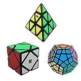 3-Pack Popular Magic Cube Puzzle - Including Skewb Speedcubing Black Puzzle Megaminx Puzzle Cube and Pyraminx Speed Cube
