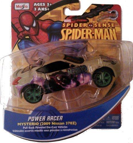 Marvel Spider Sense Spider-Man Motorized Power Racer- Pull-back powered die-cast vehicle,Mysterio 2009 Nissan 370Z - 1