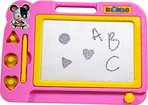 Reliable-Home-Products-Erasable-Magnetic-Drawing-Board-for-Kids-with-Stamps-Shapes-and-Pen-Best-Doodle-Toy-Sketcher-Game-great-for-Children-Craft-Writing-Pad-Travel-Size-Color-Pink