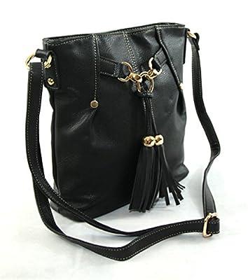 Fashion London - Sac bandoulière - Simili cuir - Qualité supérieur - Femme - Noir - Taille unique