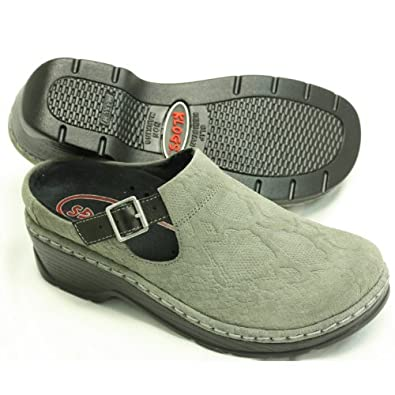 CLOGS BY KLOGS EURO WOMEN'S SHOES GREY BOA SUEDE 8M