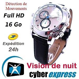Montre Caméra Cachée Espion 16 Go Full HD 1920x1080p Vision Nocturne Modèle CuirHD
