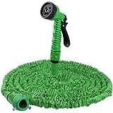 KooPower Tuyau d'arrosage après rétractable 15 M + pistolet 7 jets + Embouts Raccord Universel pour jardin,pelouse etc