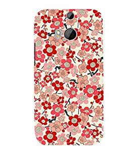 Bloomy Flowers 3D Hard Polycarbonate Designer Back Case Cover for HTC One M8 :: HTC M8 :: HTC One M 8