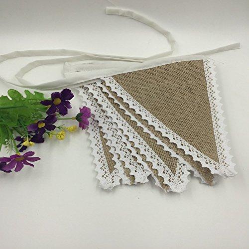 Guirlande de Fanions Bannière Banderole en Jute Bordure en Dentelle Décoration pour Fête Mariage