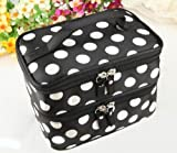 Orien 1 Pc Coffee with White Dots Ladies Women Cosmetic Bags Makeup Handholder Storage Travel Case Double-deck Polyester with Mirror (Black)