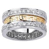 1.86ct White Diamonds 14K Two Tone Gold Women's Designer Greek Key Canal Wedding Band (10mm)