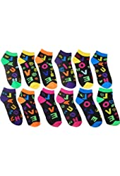 "VH Apparel - Mixed Up - Ladies ""Live Love Laugh"" 6-Pair Pack Of Anklet Socks"