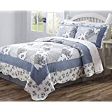 3 PCS Quilt Bedspread Coverlet Blue and White Floral Patchwork Design Brushed Microfiber Full Size