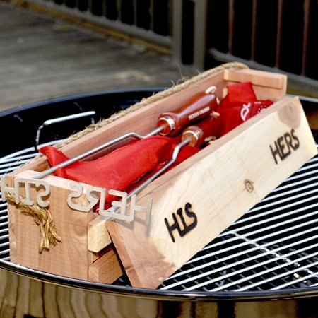 His And Hers BBQ Branding Irons With Cedar Gift Box