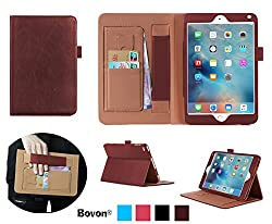 iPad Pro Case, Bovon® Folio Premium PU Leather Stand Case Cover with Auto Wake & Sleep Feature, Elastic Strap, Card Slots, Note Holder for Apple iPad Pro (2015 Release) (Brown)