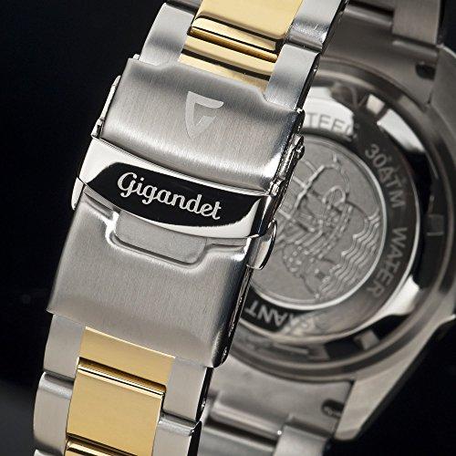 Gigandet Automatik Herren-Armbanduhr Sea Ground Taucheruhr Uhr Datum Analog Edelstahlarmband Blau Gold G2-001 8