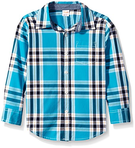 Gymboree Big Boys' Blue Plaid Long Sleeve Woven Shirt, Blue, Medium