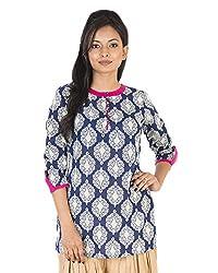Parinita Women's Cotton Regular Fit Kurta (150429_BLUE-S, Blue, Small)