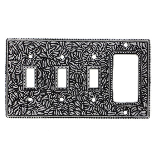 Satin Nickel Vicenza Designs WP7018 San Michele Wall Plate with Triple Toggle and Dimmer Opening