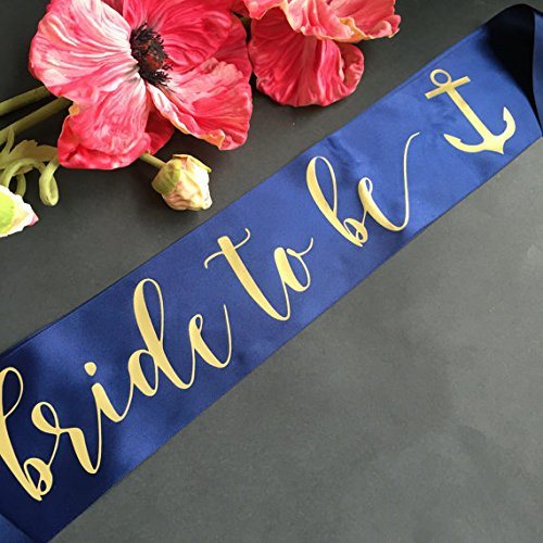 Nautical Bride to Be Bachelorette Party Sash with Anchor (Custom Bride To Be Sash compare prices)