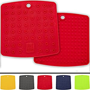 Multipurpose Premium Silicone Trivet (Set of 2) | Pot Holder - Pitcher Coaster - Lid / Jar Opener - Spoon Rest | Sturdy, Thick & Flexible, 5 Vibrant Colors | A Fun & Practical Mother's Day Gift Idea (Coral Red)