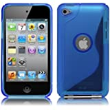 iPod Touch4 TPU Sデザインソフトケースカバー 液晶保護フィルム&クリーナー1セット付属 青