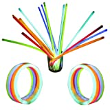 100 Glow Sticks in Mixed Colours & 100 Bracelets Connectors